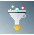 Funnel with money vector image vector image