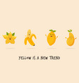 funny happy yellow character fruits vector image
