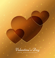golden background of love hearts vector image vector image
