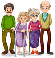 grandmothers and grandfathers on white background vector image