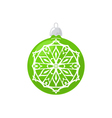 Green Ball with Snowflake Isolated on White vector image vector image