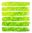 Green glitter brush strokes set isolated at white vector image