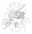 hand drawn asian symbols - line art koi carp vector image