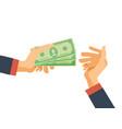 hands hold money financial bills financial vector image vector image