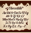 latin alphabet in liquid style hand writing brown vector image vector image