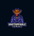 logo cowboy e sport and sport style vector image