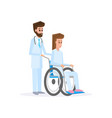 male doctor and female young with wheelchair vector image