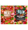 meat sausages ham bacon salami herbs spices vector image vector image