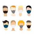 men face collection without eyes with a medical vector image vector image