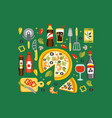 pizza preparation and eating elements italian vector image vector image