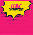 pop comic pink background with yellow burst bubble vector image