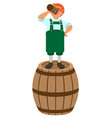 red haired german leprechaun stands on wooden vector image vector image