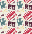 retro gadgets monochrome pattern vector image vector image