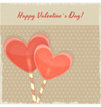 Retro Valentines Day Card with Sweet Hearts vector image vector image