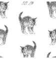 seamless background kitten sketches vector image