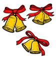 set christmas bells on white background design vector image