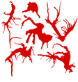 set of 6 red ink splashes isolated on white vector image