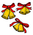 set of christmas bells on white background design vector image