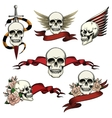 Set of commemorative skull icons vector image vector image