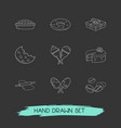 set of dessert icons line style symbols with apple vector image