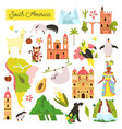 set south american animals and famous landmarks vector image