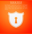 shield with keyhole icon on orange background vector image vector image
