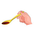 spoon with syrup in hand vector image