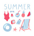 summer vacation set inflatable ring chair vector image