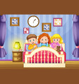 three kids in pink bed at nighttime vector image vector image