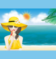 woman on summer beach with ice cream cone vector image vector image