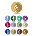 music icon set note symbol in flat design with vector image
