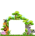animal cartoon with blank sign and tropical forest vector image vector image