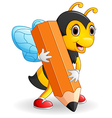 Bee cartoon holding brown pencil vector image