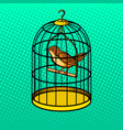 bird in cage pop art style vector image vector image