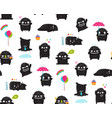 black monsters kids seamless pattern vector image vector image