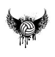 black volleyball wings grunge symbol vector image vector image