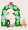 bride groom happy cartoon design vector image vector image