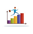 businessman running to success on growing charts vector image