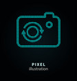 camera - pixel icon on black vector image
