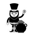 cartoon leprechaun holding gold coin and pot money vector image vector image