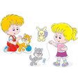 Children play with kittens vector image vector image