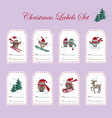 christmas gift tags with owls set vector image vector image