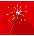 Christmas Sparkler in Flat Style with Long Shadows vector image