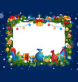 christmas tree and gifts new year garland frame vector image vector image