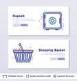 deposit safe and shopping basket symbols vector image