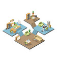 Different isometric modern offices with furniture