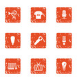 environmental advertising icons set grunge style vector image vector image