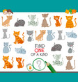 find one cat of a kind game for children vector image vector image