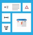 flat workshop set of motor accumulator warning vector image vector image