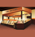 grocery store cake and donuts section vector image